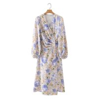 Casual Dresses Jastie Nice Summer Women's Dress Floral Print V-Neck Long Sleeve Midi Beach Party Holiday Bohemian Prom Female
