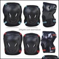 Cotovelia Segurança Atlético ao ar livre como esportes Outdoorselbow joelho almofadas 6 pçs / set skating conjunto de engrenagem protetora skate de bicicleta rolo de patim de gelo b