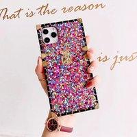 Роскошный квадратный цвет блестки блестки чехол для телефона для iPhone 12Pro max case xs max 11 xr x 7 8 плюс смешанная шишка мягкая крышка