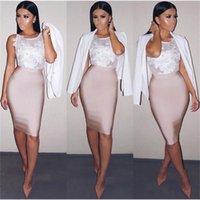 11 colores sólido desnudo más tamaño xl xxl sexy verano bodycon fiesta vendaje falda mujeres blanco negro beige rojo lápiz falda 60 cm 210306