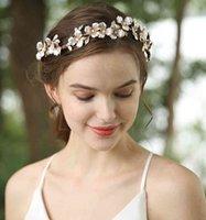SLBLidal El Yapımı Boho Altın İnciler Alaşım Çiçek Yaprak Düğün Saç Aksesuarları Gelin Tiara Kafa Nedime Kadınlar Takı
