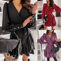 Midi Boho Vestido Mujer Boho Ropa Kimkardashian Black Gothic Vestido Sundress Sunen V Cuello volantes Vestidos de lino completo-Mujeres