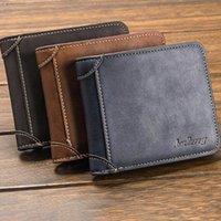 Wallets PinShang Men Fashion Matte Short Purse Retro Leather Multifunction Wallet