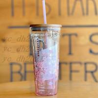 2021 Japon Tarzı Starbucks Kupalar Sakura Ahşap Kapak Saman Kupası 591 ml Kiraz Çiçeği Çift Katmanlı Cam Kahve Bardakları Hediye