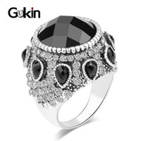 Cluster Rings Gukin Jewelry Bohemia Punk Black Big Vintage Ring Silver Plated Mosaic Crystal Wedding For Women Bijouterie Gift