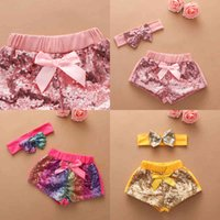 Sequins shorts for kids baby infants summer clothing with sequined headdress rainbow hair wrap big bow hairbands performance costume casual party suit G65R8SP