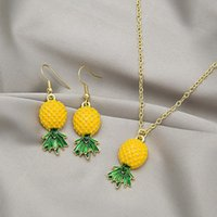 Earrings & Necklace U-Magical Temperament 2pcs Yellow Ruit Green Leaf Pineapple Pendant Suit For Women Dangle Jewellery