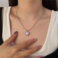 Korean Elegant Glaze Black White Grid Heart Pendant Necklace For Women Lades Fashion Metal Link Chain Party Jewelry