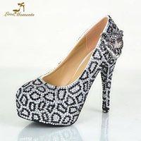 Strass and Silver Strinestone Léopard Nightclub Haute Talons Crystal Crystal Mariage Chaussures de mariée Beautiful