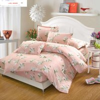 Bedding Sets 100% Cotton Set 4Pcs Pink White Flowers King Queen Full Twin Size Summer Bed Fitted Sheet Duvet Cover Pillowcase