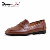 Донна в натуральных кожаных мокасинах квартиры Женские туфли Черный коричневый скольжение на Crocodile Pattern Moccasins повседневная офисная женская обувь PROM SHO F2IK #