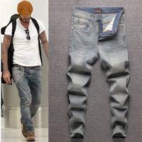 Atacado Novo Jeans Jeans Jeans Primavera e Outono New Straight Beans Solto Masculino Moda Coreana Casual Calças Homens