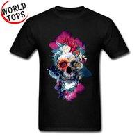 Ölü Meksika Günü Çiçek Kafatası 3D T Gömlek Gül Çiçek Kafatası Baskılı Tişörtlerinde Baskılı% 100% Pamuk Erkekler Tee Gömlek Paskalya Pazartesi