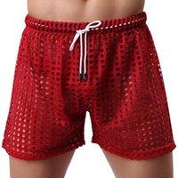 Men's Shorts Mens Sleepwear Big Mesh Honeycomb Net Home Pajamas Sexy Sleep Bottom Sheer