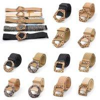 Belts Fashionable Women Wooden Buckle Braided Belt Fake Straw Linen Weave Wide Vintage Bohemian Leopard Waistband