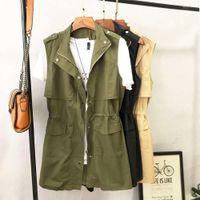 NOUVEAU Mode Femmes Jacket Casual Slim Femelle Tops Noir Blanc Armée Vert Rose Spring Automne Haute Qualité Dame Gilet gilet