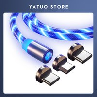 Charging Cable Luminous lumens Flowing Light Magnetic magnetic charging cable for LED Micro USB Type C for Xiaomi Samsung