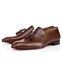 21s Men's Low Dress Pisos Cuero Zapatos de cuero Bottom Mocasines Zapatillas Diente de León Tassel Debos Hombre Hombre Caballeros Negocios Shadess Reds Sole Diseños de Lujo