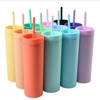 16 oz acrylique Skinny Tumblers Matte Couleurs Double mur 500ml Tabouillère Coffee Boire en plastique Sippy Cup avec paille de couvercle