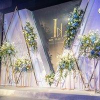 Decoración de fiesta de hierro forjado marco rectangular geométrico mesa de boda pieza de boda camino plomo flores artificiales telón de fondo soporte
