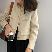 Women's Jackets Designer Jacket Women Fashion Button Single Breasted Short Jacke Coat Vintage Elegant Tweed Black Cosaco Outerwear Clothe