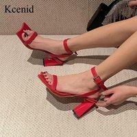 الصنادل kcenid الأزياء منحنى ساحة تو النساء كتلة عالية الكعب بو الجلود الأحذية الصيف السيدات الكاحل مشبك حزام حزب مضخات