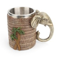 Mugs Creative Rain Forest Elephant Mug Resin Stainless Steel Cup Festival Decoration Office Household Accessories