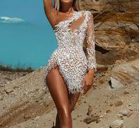 Summer Femmes Sexy Fête Robe à manches longues à une épaule Silver Silver Susque Robe fendue courte