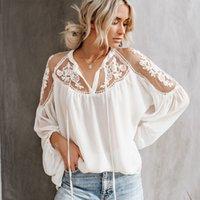 TEELYNN LANTERN Langarm Spitze Bluse-Hemd Frauen Vintage Floral Chiffon Sexy Durchsicht durch Blusen Boho Beach V Hals Blusa 210311