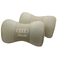 2 pc desporto de carro de couro genuíno em forma de óssea almofadas de travesseiro de segurança pescoço descanso encosto confortável logotipo personalizado para audi
