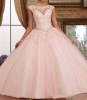 Gorgeous 2019 Quinceanera Dresses Blush Pink Bateau Neck Cap Sleeve Appliques Lace Sequins Beaded Ball Gown Sweet 16 Dresses