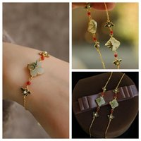 Charm Bracelets Chinese Style Enamel Color Elegant Female Pearl An White Jade Stone Hands Chain Vintage Minorities Jewelry
