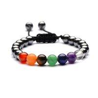 Charm Bracelets Lover Friendship Weave 8mm Hematite 7 Chakra Turquoises Stone Bracelet Reiki Healing Beads Strand Energy Jewelry
