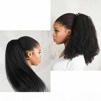 Kinky Droit Brésilien Humain Humain Curstring Clip de cheval dans les extensions de cheveux Couleur Naturel Couleur Remy Poppy PoneyTail Produits 120g Libre expédier