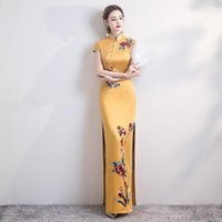Ethnic Clothing Large Size 5XL Appliques Classic Chinese Dress Sexy Slim High Split Cheongsam Female Satin Elegant Qipao Evening Party Prom
