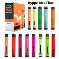 E-cigarros Hyppe Max Fluxo 2000 Puffs Descartáveis Vape Fluxo Ajustável Ajustável Cigarro Eletrônico 900mAh 6.0ml