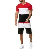 New Tracksuit 2 Pieces Men Sets Male Clothing Sportswear Set Fitness Summer Print Men Shorts+t Shirt Mens Casual Suit 4XL