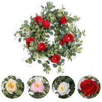Decorative Flowers & Wreaths 1.8M Silk Artificial Rose Vine Hanging For Wall Decoration Rattan Fake Plants Leaves Garland Romantic Wedding H