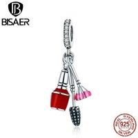 Bisaer Charm Pendentif 925 Sterling Silver Nail Bush Set Chic Lady Charm Fit for Women Bracelet Jeu d'été Collection GXC785 Q0225