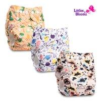 [Littlesbloomz] 3 unids / set Baby Lavable Reutilizable Realable Pocket Pocket Napspon, 3 pañales / pañales y 3 insertos de microfibra en un set 210312