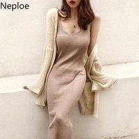 Casual Dresses Neploe Women Dress Fashion 2021 Spring Summer Sexy Knitted Sling Vestidos Solid Bottom Slim Sleeveless Vest 52745