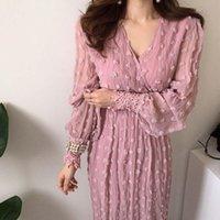Casual Dresses Robes Chiffon Pink Polka Dot Dress Lace Long Sleeve Vestido De Festa Longo Elegant V Neck Woman 2021 Spring Summer Ropa Femen