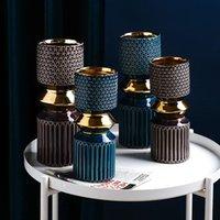 Ретро творческий рельеф керамические вазы роскошная гостиная настольные украшения современного мода ремесленничество цветочная композиция ваза