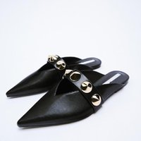 Slippers Casual Mules For Women 2021 Slides Beige Heeled Sandals Female Shoes Pointed Toe Rivet Loafers Low Luxury Black Soft Ne
