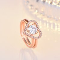 Rose gold 2in1 Cubic Zirconia Ring Band Combination Splicing Open Adjustable Hollow Heart Rings Stacking Women Girls engagement wed Fashion Jewelry Will and Sandy