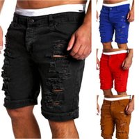 Herren Denim Chino Mode Shorts WASID Denim Boy Skinny Runway Kurze Männer Jeans Shorts Homme zerstörte zerrissene Jeans plus Größe