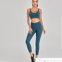 New 2 Piece Gym Clothing Nylon Naked Feeling Sports Bra Top Leggings Tights Suit Sportswear Yoga Set WoMens Man Tracksuit 2020 Lsoccer jersey