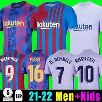 Camisetas de football memphis Pedri Kun Aguero 바르셀로나 축구 유니폼 Barca FC 21 22 Ansu Fati 2021 2022 Griezmann F. De Jong Dest 키트 셔츠 남자 아이들이 양말 999를 설정합니다.