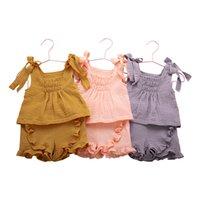 Baby Kläder Tjejer Ärmlös Sling Väst Toppar + Shorts 2st Set Ruffle Barn Outfits Boutique Kids kläder 3 färger 3091 Q2