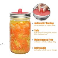 Silicone Waterless Fermenting Airlock Lids Covers Stainless Steel Band for Wide Mouth Mason Jar Sealed Lid Kitchen Supplies RRE10510